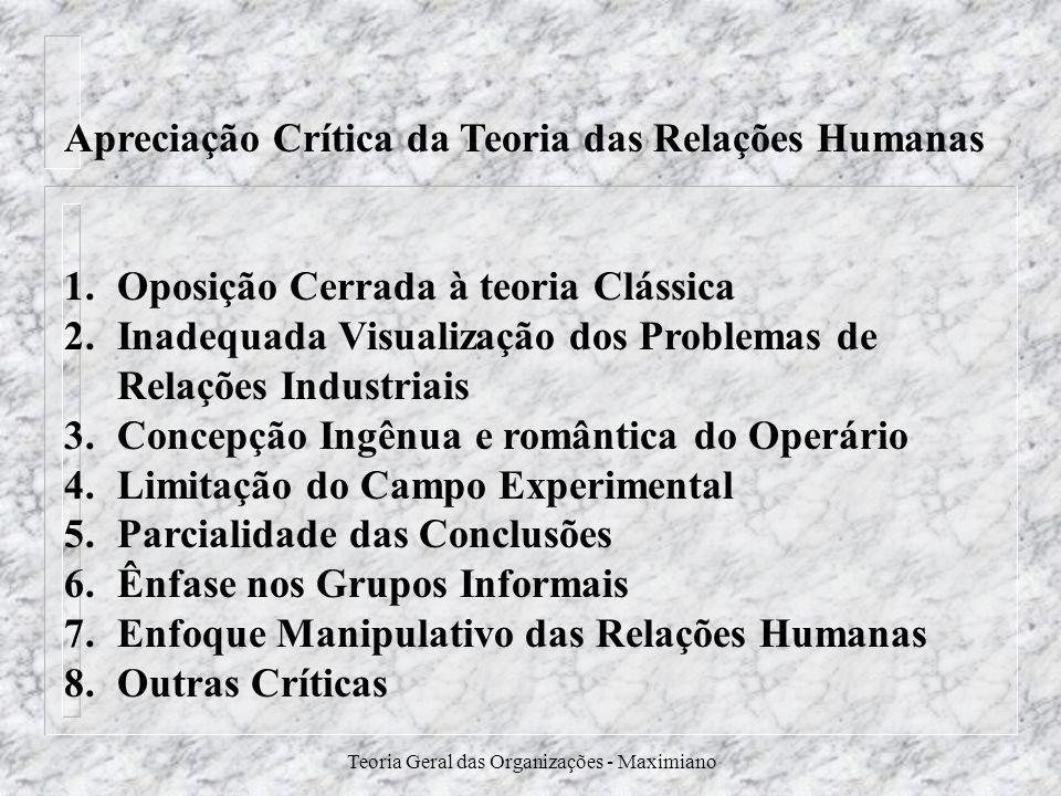 Teoria Geral das Organizações - Maximiano Apreciação Crítica da Teoria das Relações Humanas 1.Oposição Cerrada à teoria Clássica 2.Inadequada Visualiz