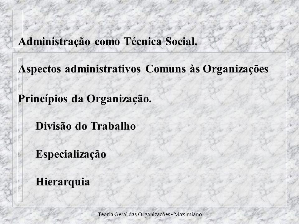Teoria Geral das Organizações - Maximiano Administração como Técnica Social. Aspectos administrativos Comuns às Organizações Princípios da Organização