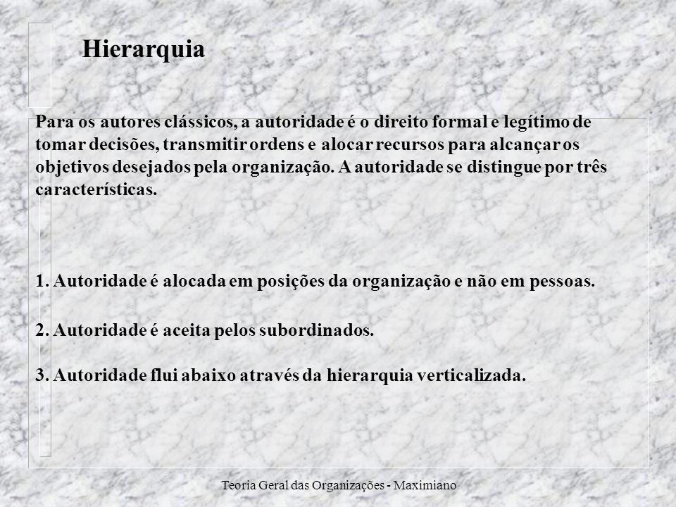 Teoria Geral das Organizações - Maximiano Hierarquia 1. Autoridade é alocada em posições da organização e não em pessoas. 2. Autoridade é aceita pelos