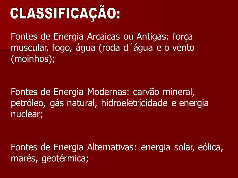 Fontes de Energia Arcaicas ou Antigas: força muscular, fogo, água (roda d´água e o vento (moinhos); Fontes de Energia Modernas: carvão mineral, petról
