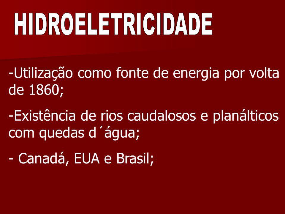 -Utilização como fonte de energia por volta de 1860; -Existência de rios caudalosos e planálticos com quedas d´água; - Canadá, EUA e Brasil;
