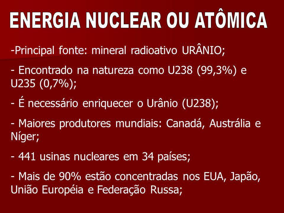 -Principal fonte: mineral radioativo URÂNIO; - Encontrado na natureza como U238 (99,3%) e U235 (0,7%); - É necessário enriquecer o Urânio (U238); - Ma