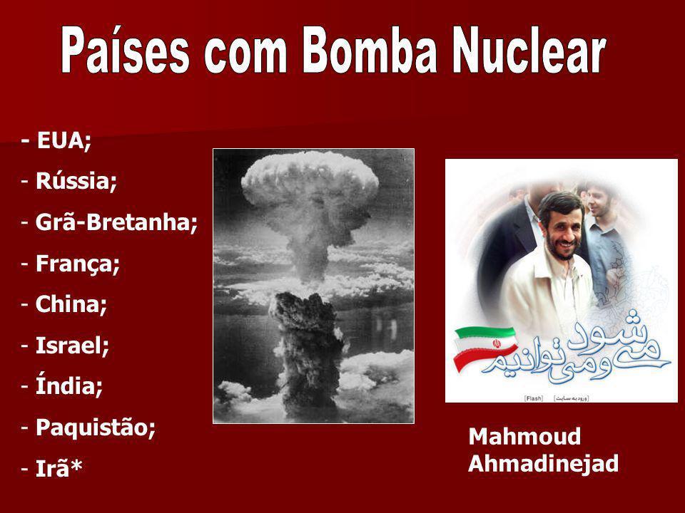 - EUA; - Rússia; - Grã-Bretanha; - França; - China; - Israel; - Índia; - Paquistão; - Irã* Mahmoud Ahmadinejad