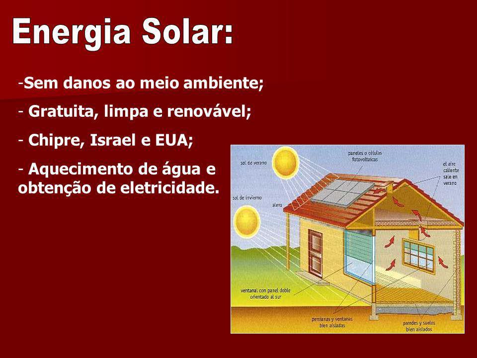 -Sem danos ao meio ambiente; - Gratuita, limpa e renovável; - Chipre, Israel e EUA; - Aquecimento de água e obtenção de eletricidade.