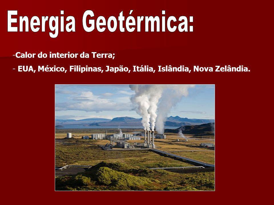 -Calor do interior da Terra; - EUA, México, Filipinas, Japão, Itália, Islândia, Nova Zelândia.