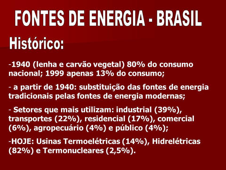 -1940 (lenha e carvão vegetal) 80% do consumo nacional; 1999 apenas 13% do consumo; - a partir de 1940: substituição das fontes de energia tradicionai