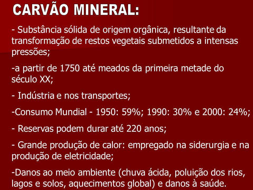 - Substância sólida de origem orgânica, resultante da transformação de restos vegetais submetidos a intensas pressões; -a partir de 1750 até meados da