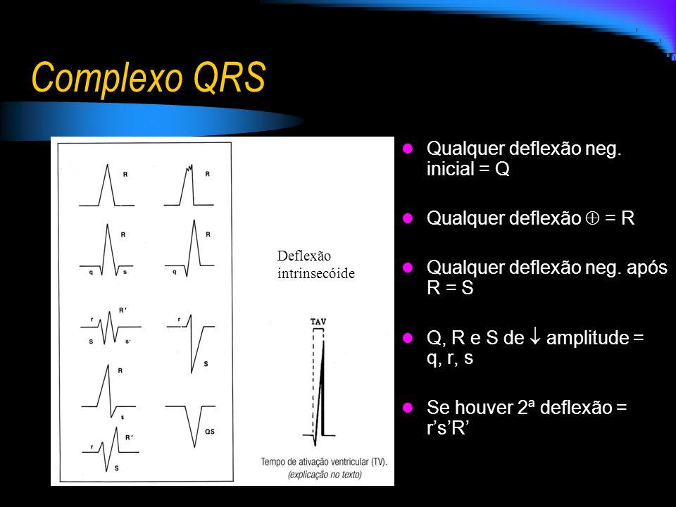 Complexo QRS Qualquer deflexão neg. inicial = Q Qualquer deflexão = R Qualquer deflexão neg. após R = S Q, R e S de amplitude = q, r, s Se houver 2ª d