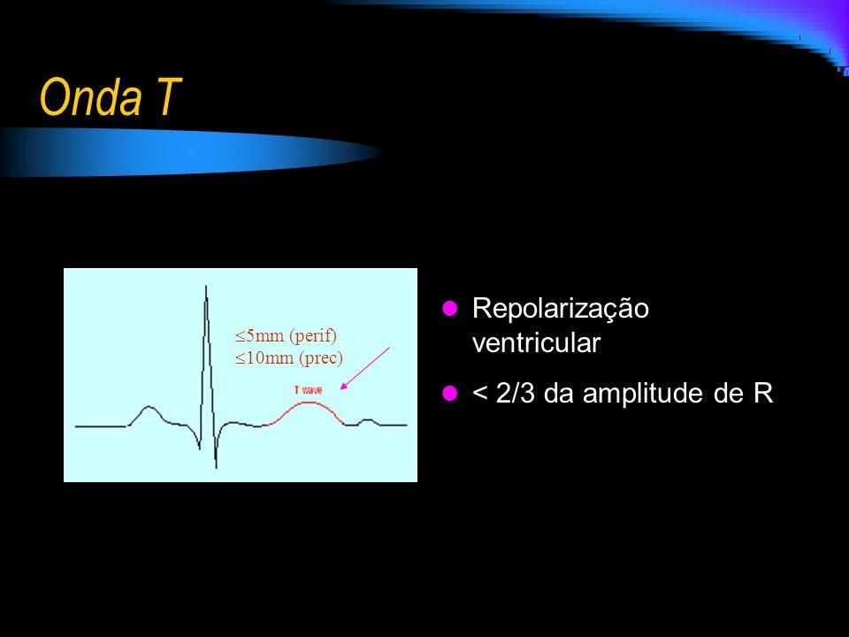Onda T Repolarização ventricular < 2/3 da amplitude de R 5mm (perif) 10mm (prec)