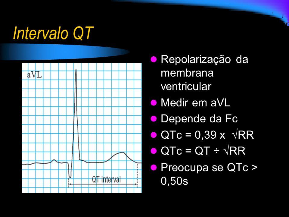 Intervalo QT Repolarização da membrana ventricular Medir em aVL Depende da Fc QTc = 0,39 x RR QTc = QT ÷ RR Preocupa se QTc > 0,50s