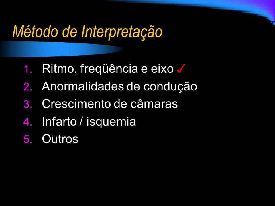 1. Ritmo, freqüência e eixo 2. Anormalidades de condução 3. Crescimento de câmaras 4. Infarto / isquemia 5. Outros