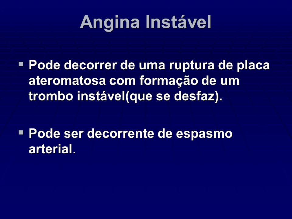 Angina Instável Pode decorrer de uma ruptura de placa ateromatosa com formação de um trombo instável(que se desfaz). Pode decorrer de uma ruptura de p