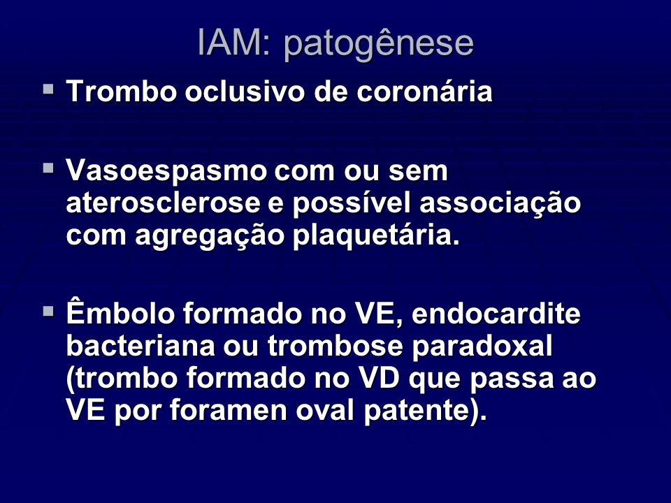 IAM: patogênese Trombo oclusivo de coronária Trombo oclusivo de coronária Vasoespasmo com ou sem aterosclerose e possível associação com agregação pla