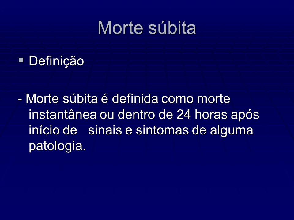Morte súbita Definição Definição - Morte súbita é definida como morte instantânea ou dentro de 24 horas após início de sinais e sintomas de alguma pat