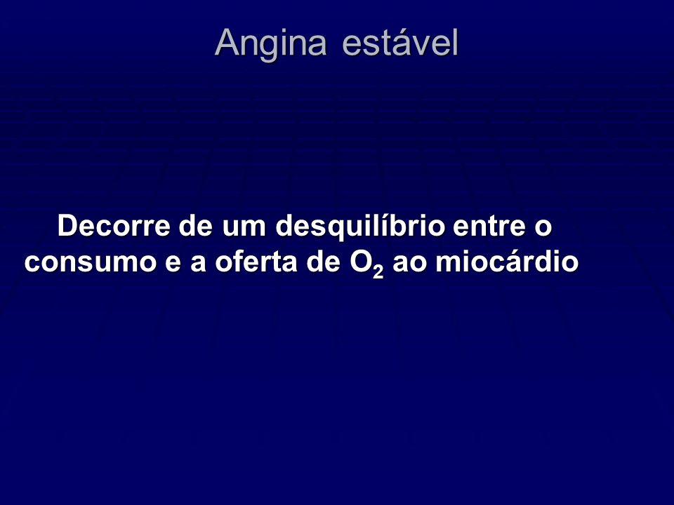 Angina estável: características Dor surge após esforço físico ou estresse emocional.