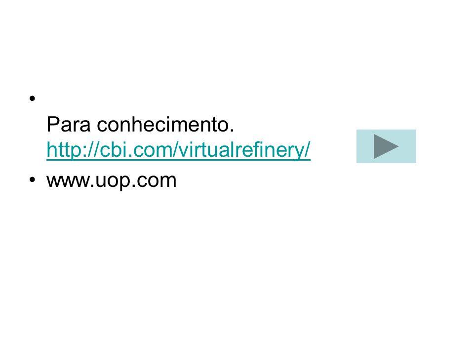Para conhecimento. http://cbi.com/virtualrefinery/ http://cbi.com/virtualrefinery/ www.uop.com