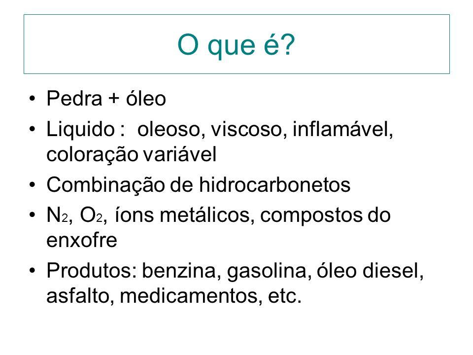 O que é? Pedra + óleo Liquido : oleoso, viscoso, inflamável, coloração variável Combinação de hidrocarbonetos N 2, O 2, íons metálicos, compostos do e