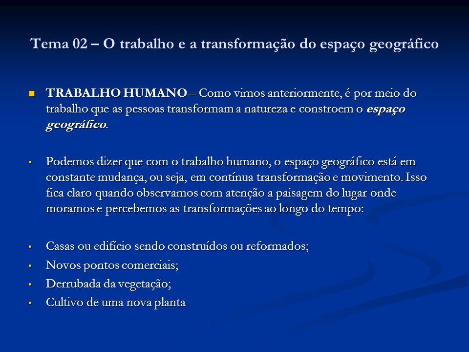 Tema 02 – O trabalho e a transformação do espaço geográfico TRABALHO HUMANO – Como vimos anteriormente, é por meio do trabalho que as pessoas transfor