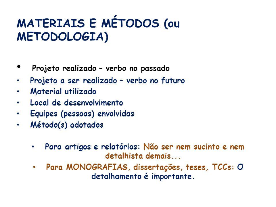 MATERIAIS E MÉTODOS (ou METODOLOGIA) Projeto realizado – verbo no passado Projeto a ser realizado – verbo no futuro Material utilizado Local de desenv