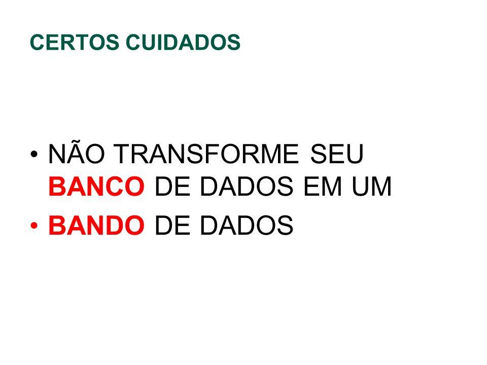 CERTOS CUIDADOS NÃO TRANSFORME SEU BANCO DE DADOS EM UM BANDO DE DADOS