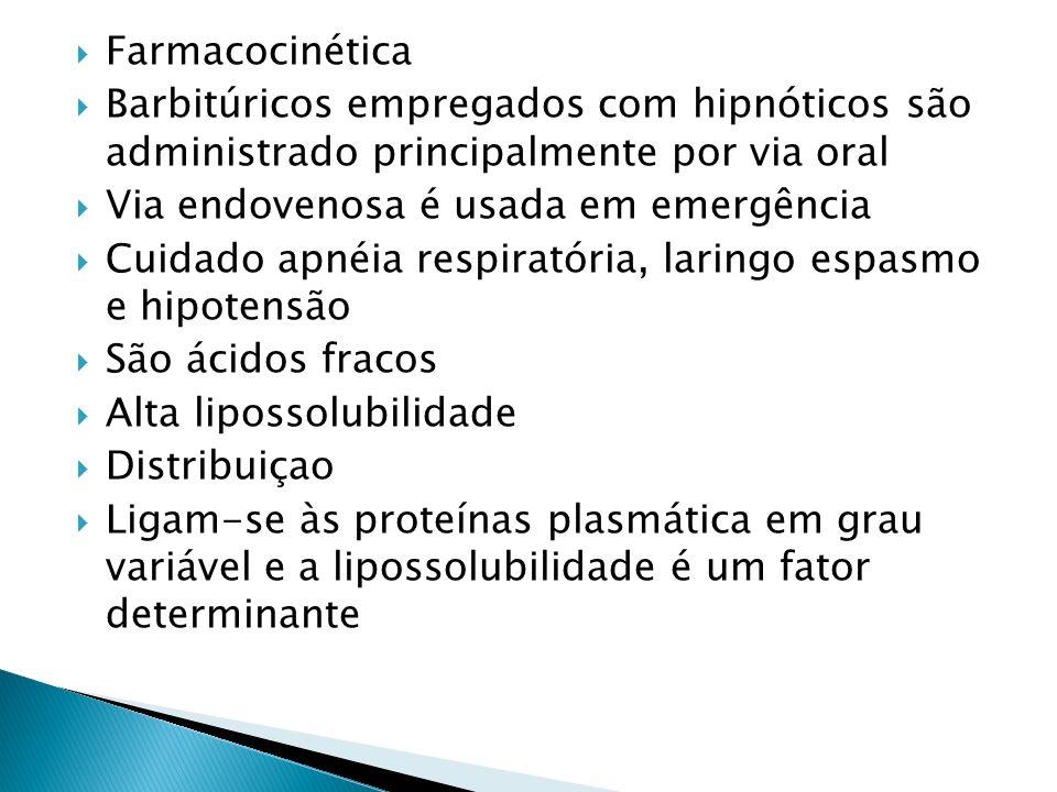 Farmacocinética Barbitúricos empregados com hipnóticos são administrado principalmente por via oral Via endovenosa é usada em emergência Cuidado apnéi