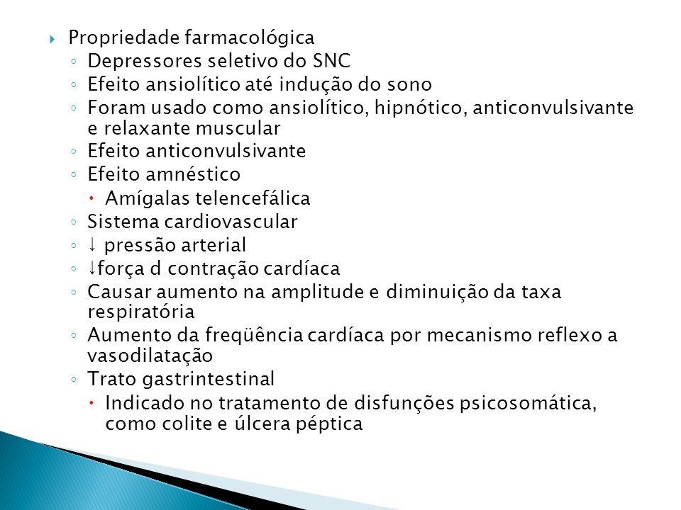 Propriedade farmacológica Depressores seletivo do SNC Efeito ansiolítico até indução do sono Foram usado como ansiolítico, hipnótico, anticonvulsivant