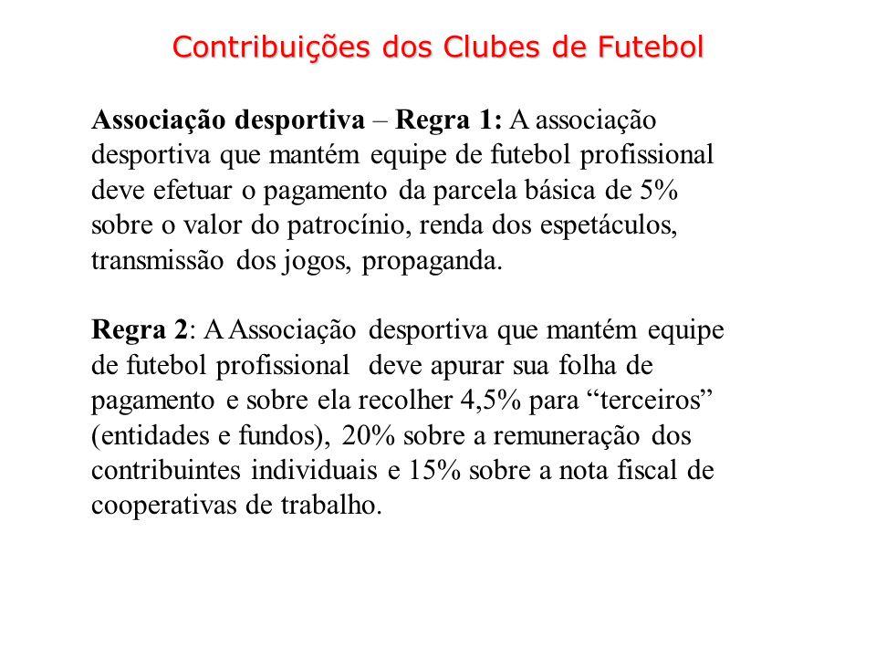 Associação desportiva – Regra 1: A associação desportiva que mantém equipe de futebol profissional deve efetuar o pagamento da parcela básica de 5% so