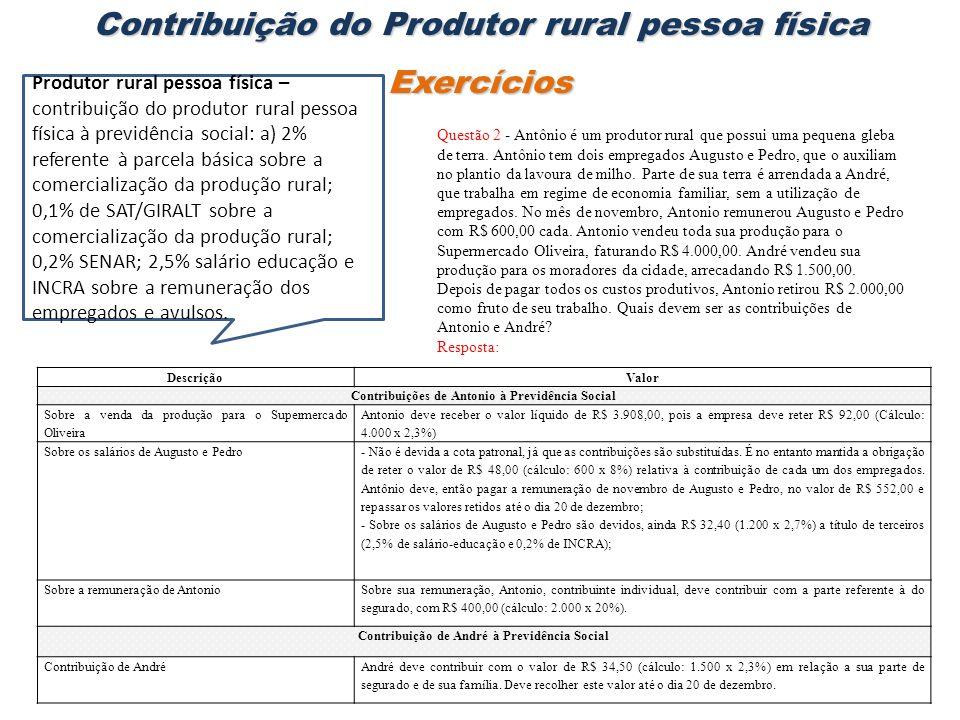 Questão 2 - Antônio é um produtor rural que possui uma pequena gleba de terra. Antônio tem dois empregados Augusto e Pedro, que o auxiliam no plantio