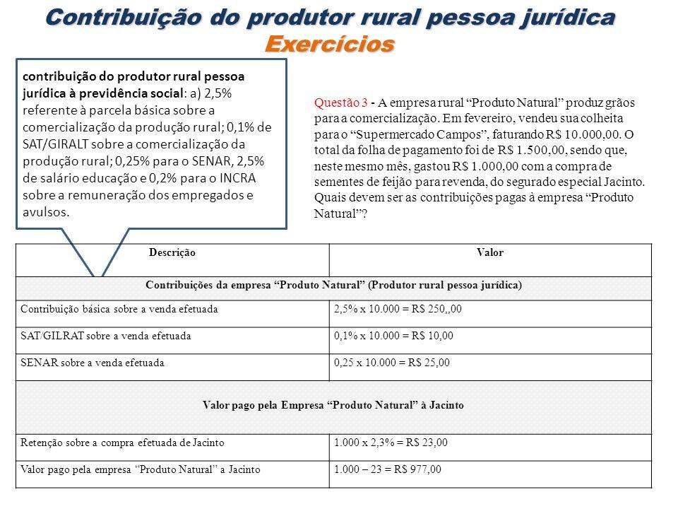 Questão 3 - A empresa rural Produto Natural produz grãos para a comercialização. Em fevereiro, vendeu sua colheita para o Supermercado Campos, faturan