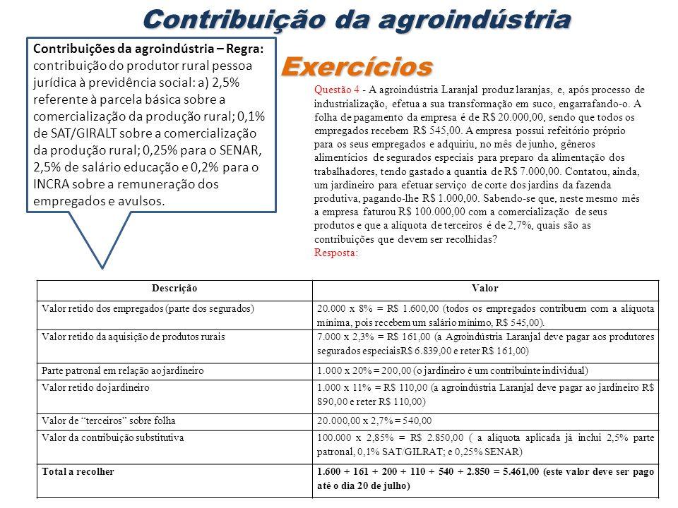Contribuição da agroindústria Exercícios Questão 4 - A agroindústria Laranjal produz laranjas, e, após processo de industrialização, efetua a sua tran