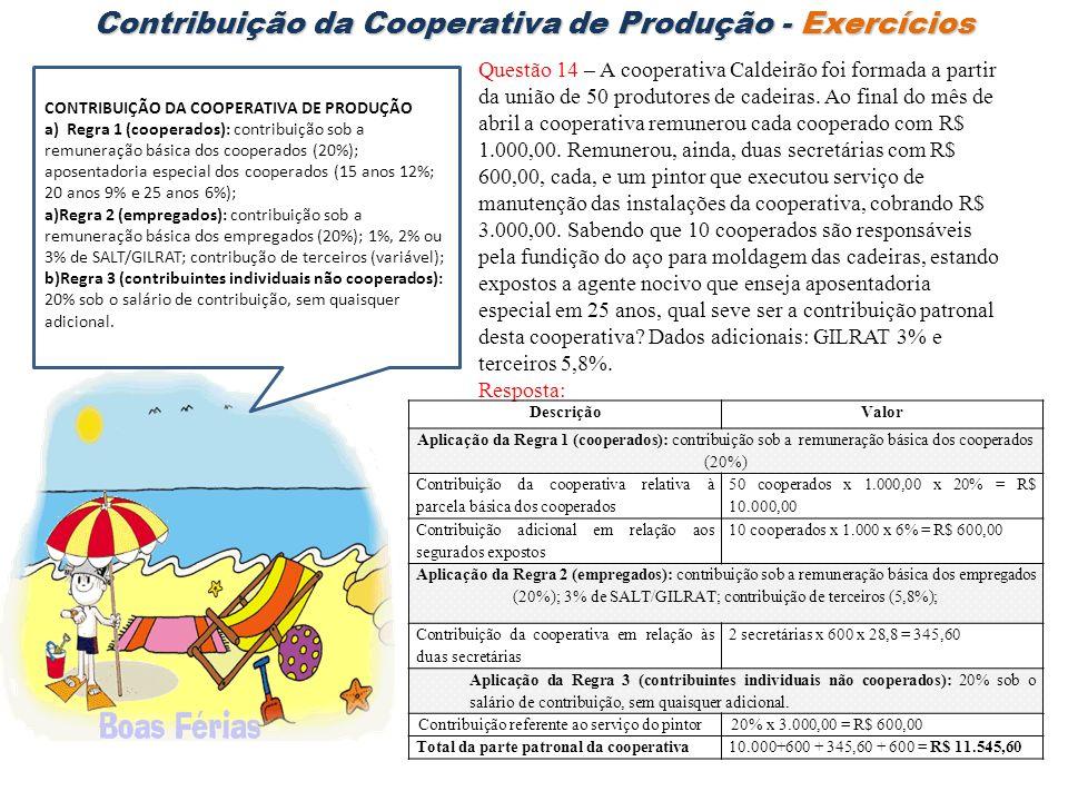 Contribuição da Cooperativa de Produção - Exercícios Questão 14 – A cooperativa Caldeirão foi formada a partir da união de 50 produtores de cadeiras.