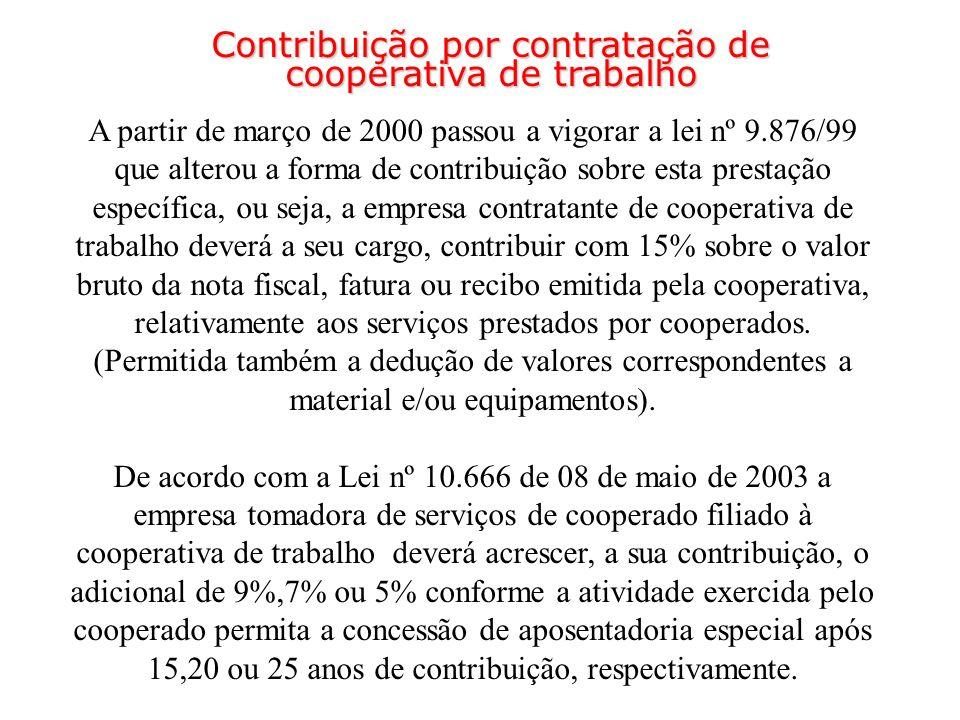 A partir de março de 2000 passou a vigorar a lei nº 9.876/99 que alterou a forma de contribuição sobre esta prestação específica, ou seja, a empresa c