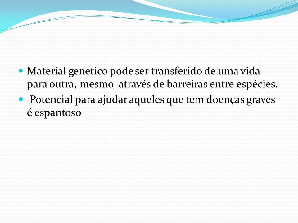 Material genetico pode ser transferido de uma vida para outra, mesmo através de barreiras entre espécies. Potencial para ajudar aqueles que tem doença