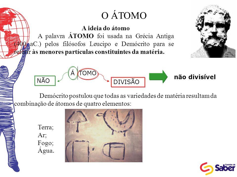 O ÁTOMO A ideia do átomo A palavra ÁTOMO foi usada na Grécia Antiga (400 aC.) pelos filósofos Leucipo e Demócrito para se referir às menores partícula