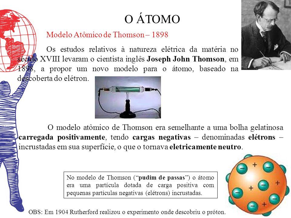 O ÁTOMO Modelo Atômico de Thomson – 1898 Os estudos relativos à natureza elétrica da matéria no século XVIII levaram o cientista inglês Joseph John Th