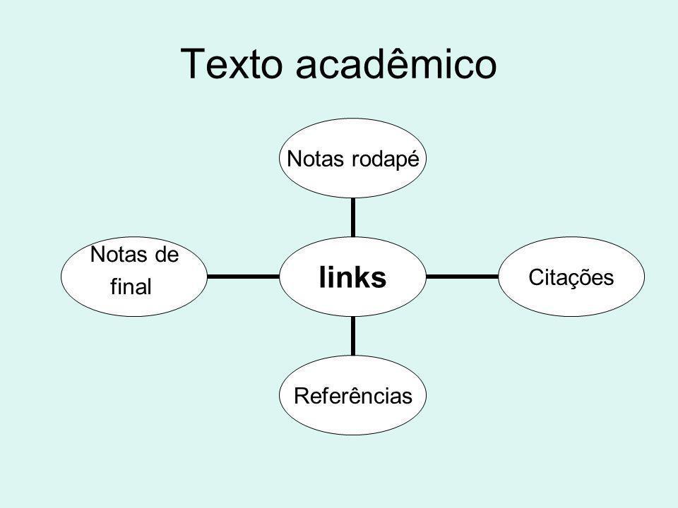 Texto acadêmico links Notas rodapéCitaçõesReferências Notas de final