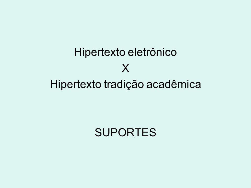 Hipertexto eletrônico X Hipertexto tradição acadêmica SUPORTES