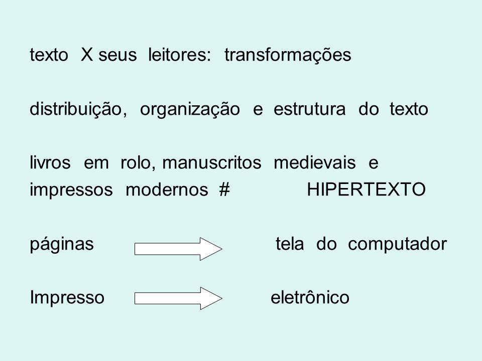 texto X seus leitores: transformações distribuição, organização e estrutura do texto livros em rolo, manuscritos medievais e impressos modernos # HIPE