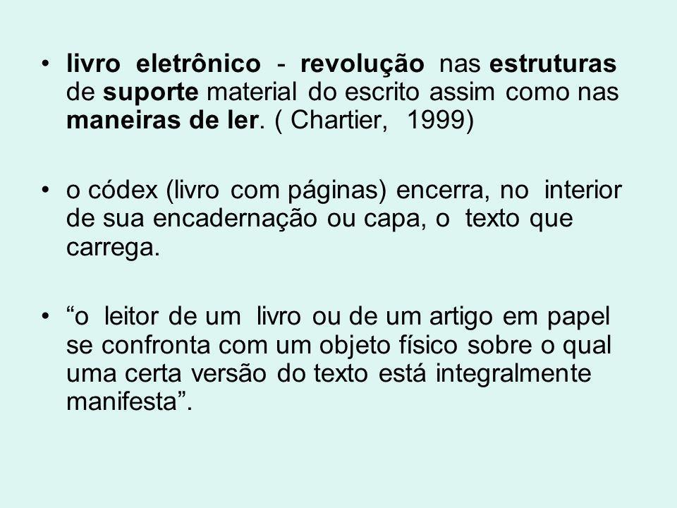 livro eletrônico - revolução nas estruturas de suporte material do escrito assim como nas maneiras de ler. ( Chartier, 1999) o códex (livro com página