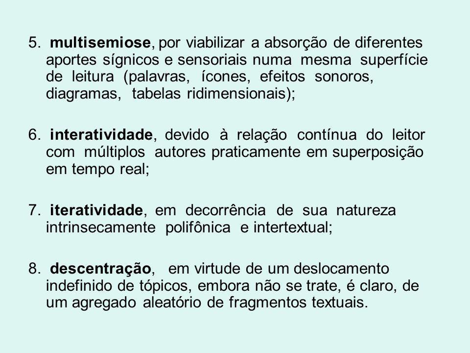5. multisemiose, por viabilizar a absorção de diferentes aportes sígnicos e sensoriais numa mesma superfície de leitura (palavras, ícones, efeitos son