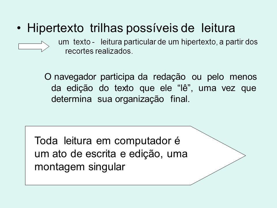 Hipertexto trilhas possíveis de leitura um texto - leitura particular de um hipertexto, a partir dos recortes realizados. O navegador participa da red
