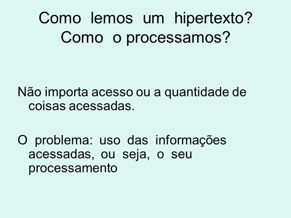 Como lemos um hipertexto? Como o processamos? Não importa acesso ou a quantidade de coisas acessadas. O problema: uso das informações acessadas, ou se