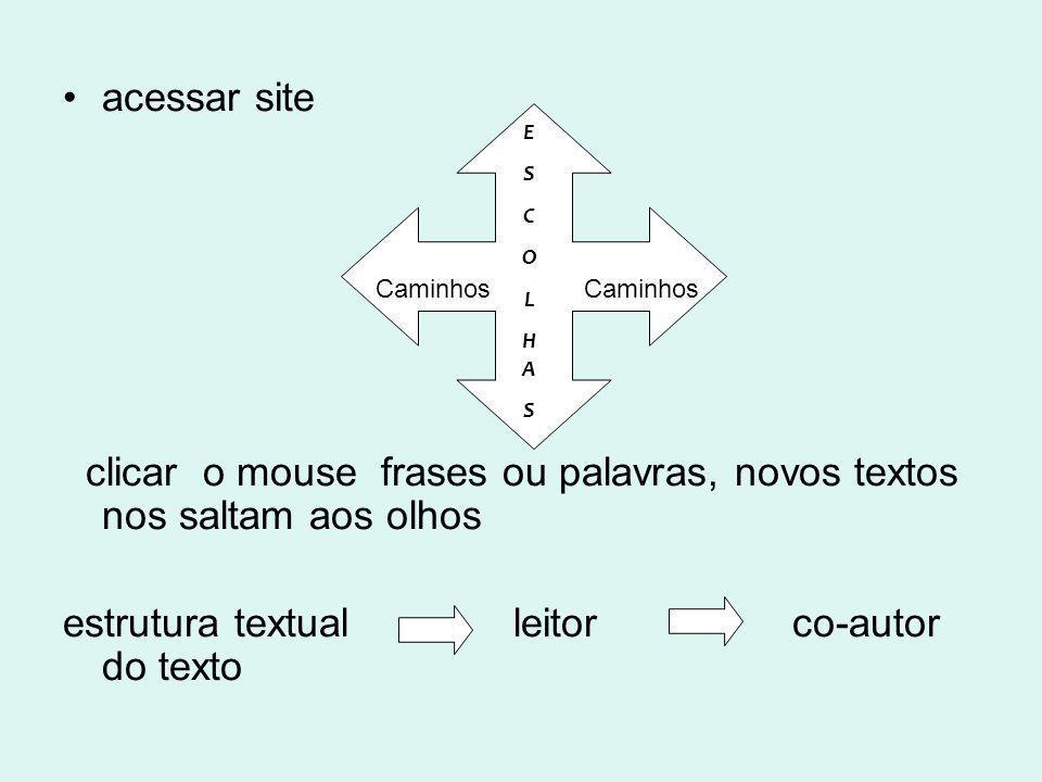 acessar site clicar o mouse frases ou palavras, novos textos nos saltam aos olhos estrutura textual leitor co-autor do texto Caminhos ESCOLHASESCOLHAS