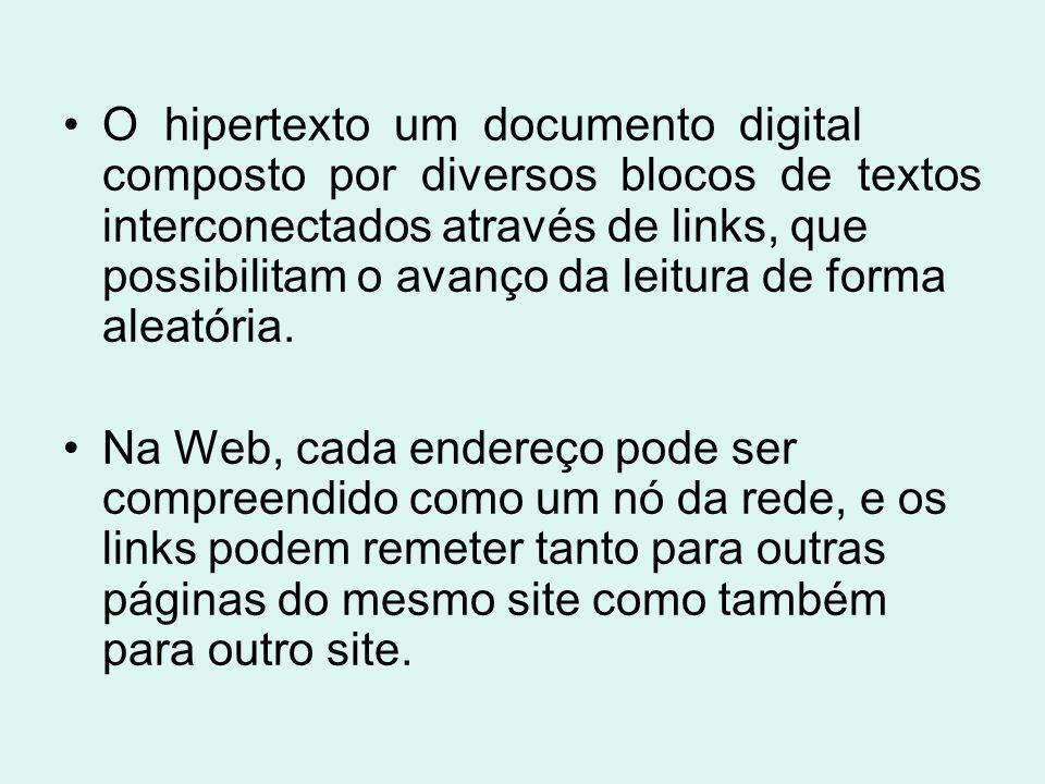 O hipertexto um documento digital composto por diversos blocos de textos interconectados através de links, que possibilitam o avanço da leitura de for