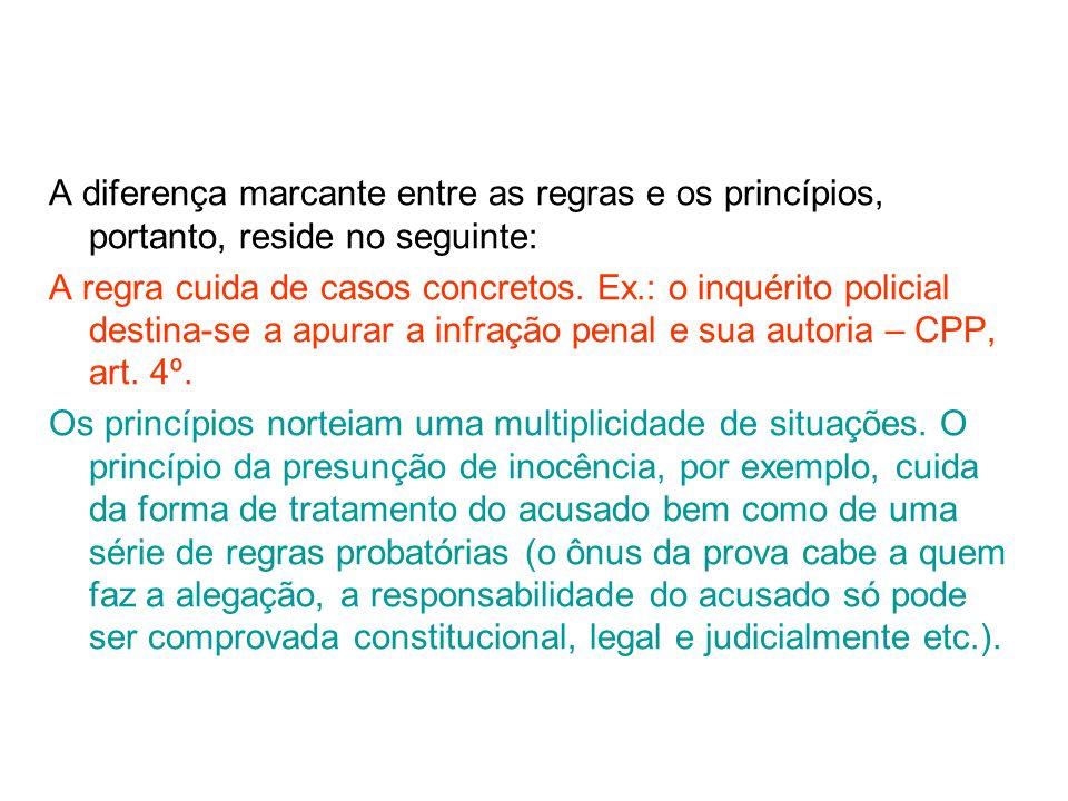 13AULA 1 A diferença marcante entre as regras e os princípios, portanto, reside no seguinte: A regra cuida de casos concretos. Ex.: o inquérito polici