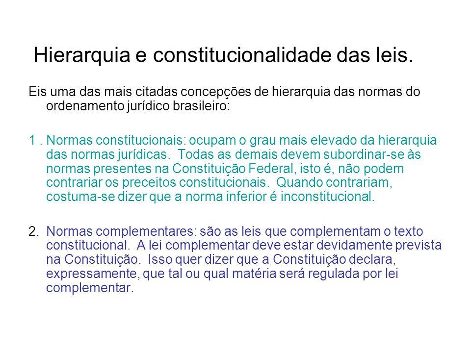 21 Hierarquia e constitucionalidade das leis. Eis uma das mais citadas concepções de hierarquia das normas do ordenamento jurídico brasileiro: 1.Norma