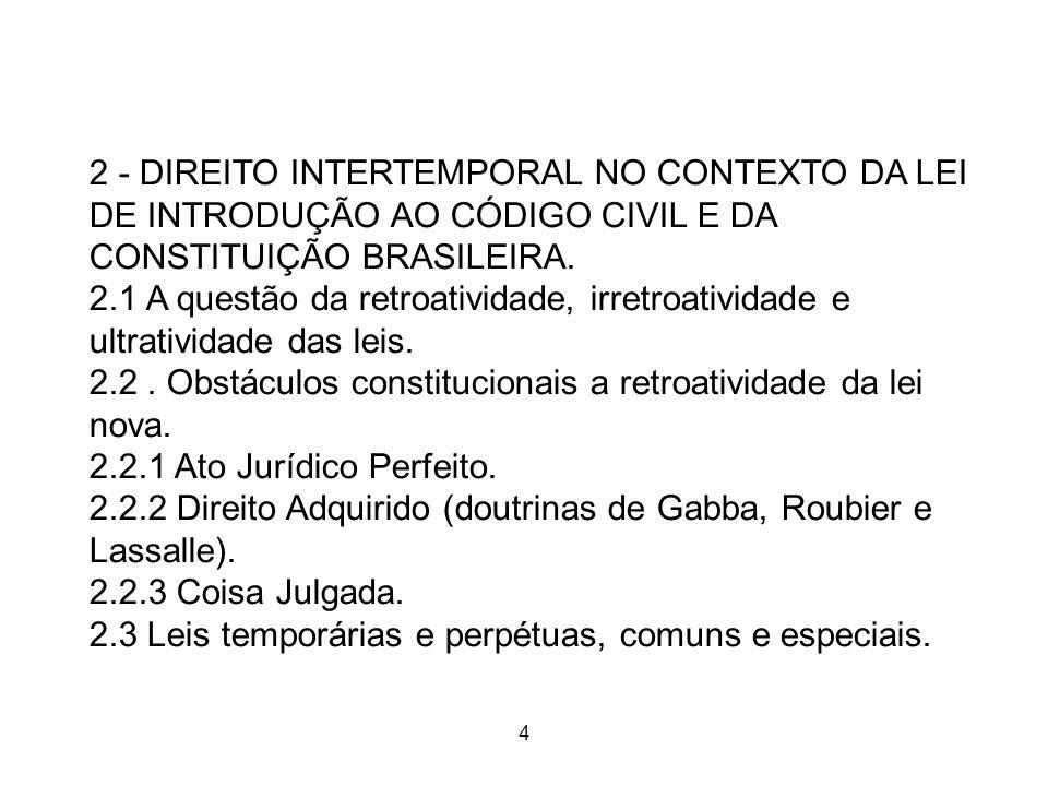 4 4 2 - DIREITO INTERTEMPORAL NO CONTEXTO DA LEI DE INTRODUÇÃO AO CÓDIGO CIVIL E DA CONSTITUIÇÃO BRASILEIRA. 2.1 A questão da retroatividade, irretroa