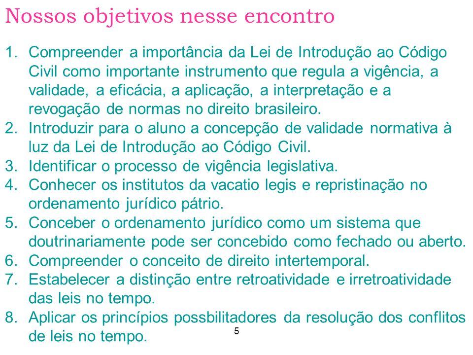 5 AULA 1 1.Compreender a importância da Lei de Introdução ao Código Civil como importante instrumento que regula a vigência, a validade, a eficácia, a