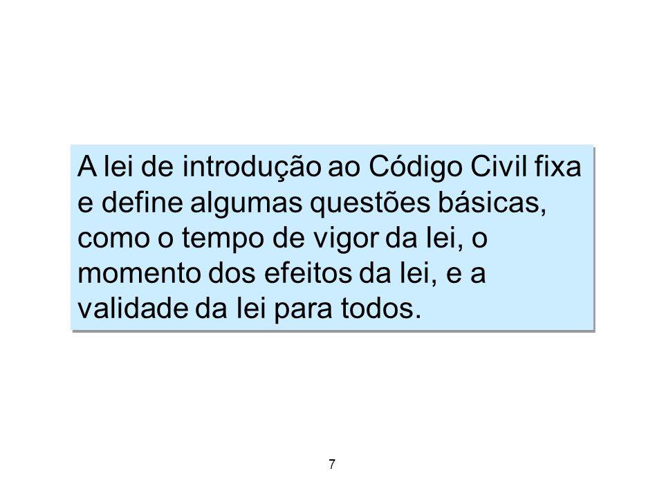 7 Moral 7 Pontos fundamentais da LICC A lei de introdução ao Código Civil fixa e define algumas questões básicas, como o tempo de vigor da lei, o mome