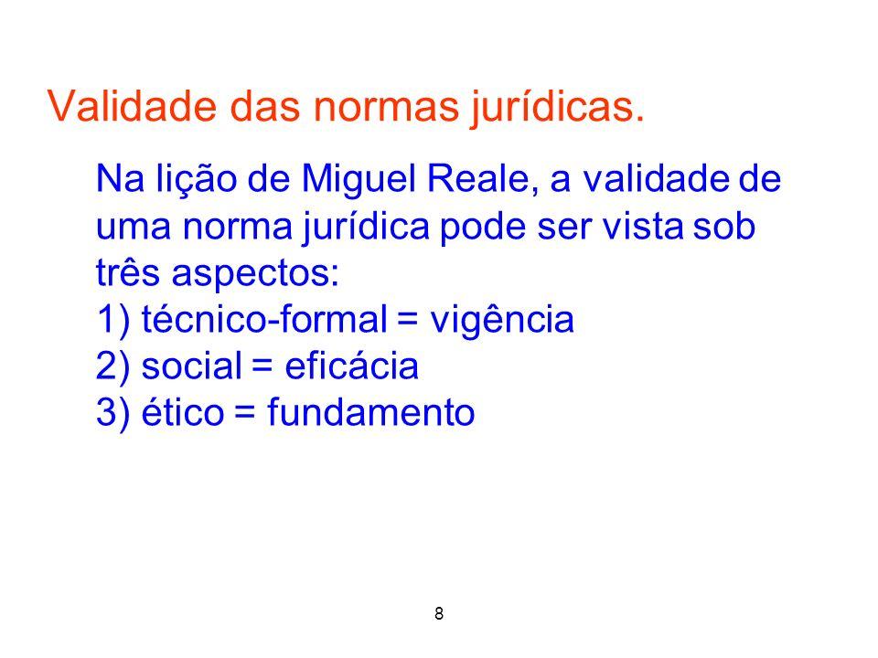 8 Validade das normas jurídicas. 8 Na lição de Miguel Reale, a validade de uma norma jurídica pode ser vista sob três aspectos: 1) técnico-formal = vi